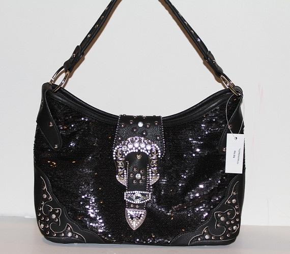 Western Sequin w/Rhinestone Buckle Handbag