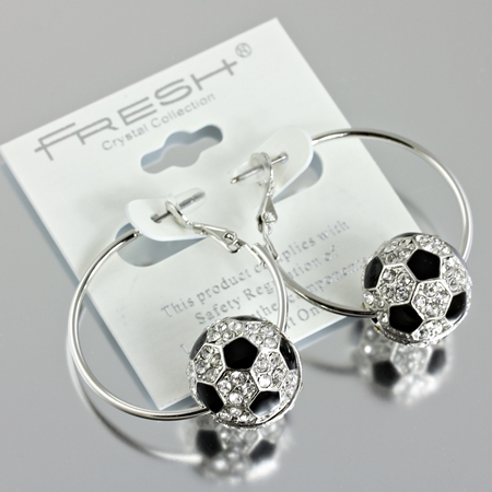 Soccer Ball Hoop Earrings