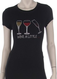 """Wine a Little"" Rhinestone Shirt"