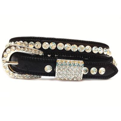 Narrow Rhinestone Genuine Leather Belt - Black