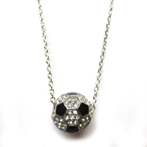 Soccer Ball Themed 3D Rhinestone Charm Necklace