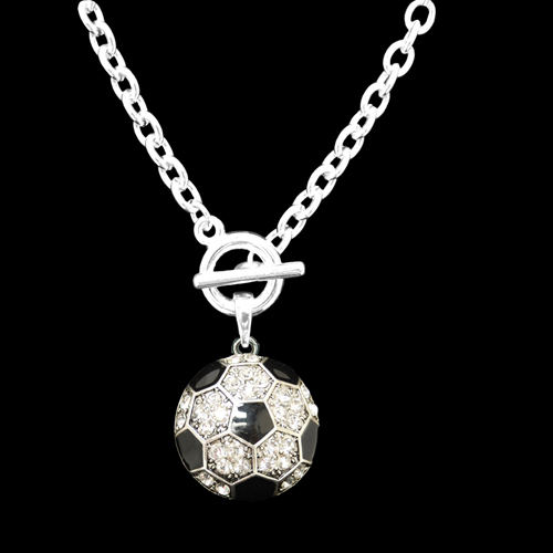 Rhinestone Soccer Ball Charm Toggle Necklace