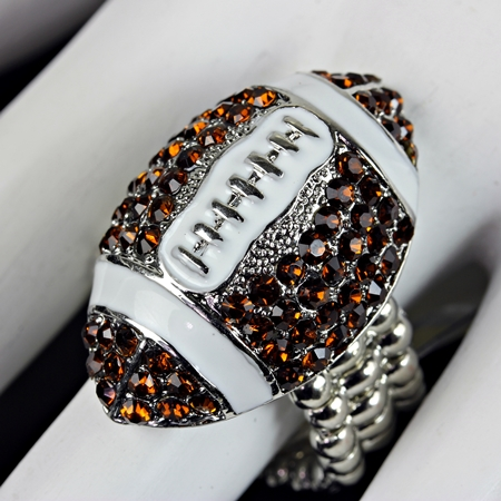 Brown and Clear Crystal Football Stretch Ring