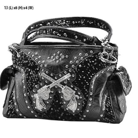 Sequin Pistols Handbag - Black