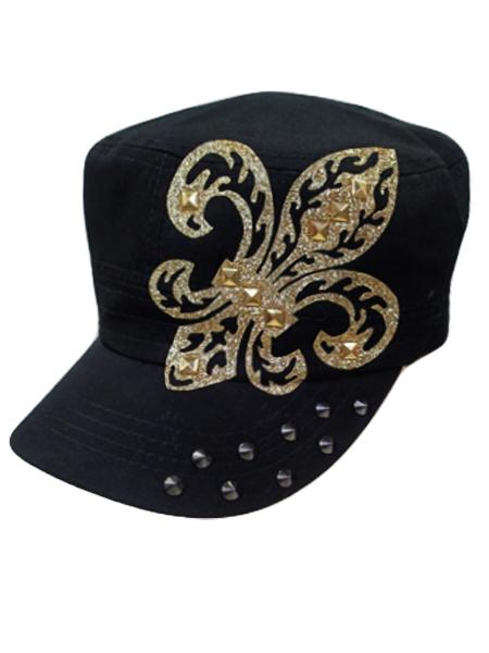 Gold Fleur de Lis Studded Cadet Hat