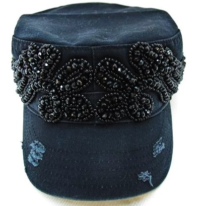 Black Beaded Wings Cadet Hat by Olive & Pique