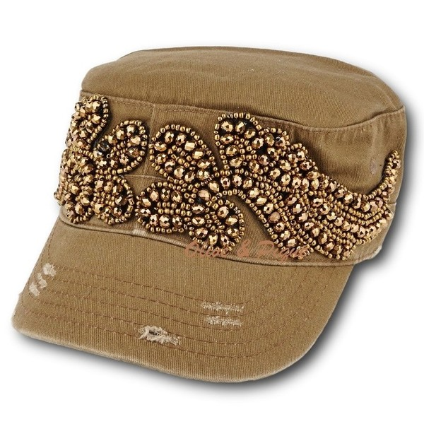Beaded Wings Brown Cadet Hat by Olive & Pique