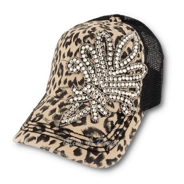 Bling Fleur de Lis Trucker Hat - Brown Leopard by Olive & Pique