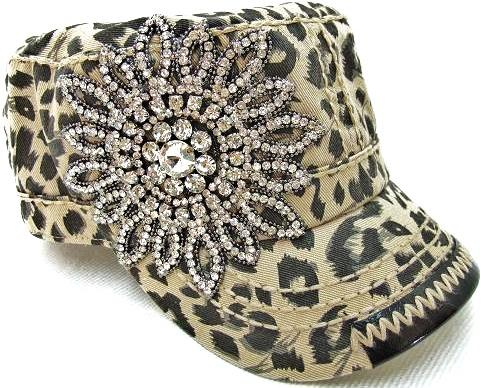 BLING Flower Hand Detail Stitched Cadet - Leopard by Olive & Pique
