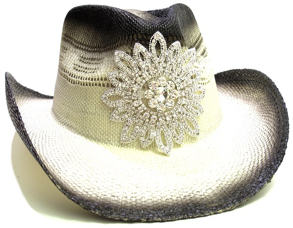 Bling Crystal Flower Cowboy Hat by Olive & Pique