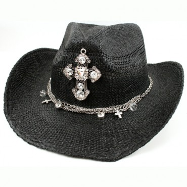 Black Cross Charm Cowgirl Hat