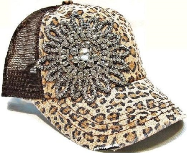 Rhinestone Flower Brown Leopard Trucker Hat by Olive & Pique