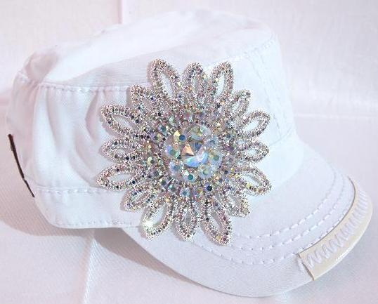 BLING Flower Hand Detail Stitched Cadet - White by Olive & Pique