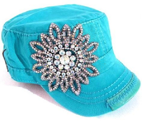 BLING Flower Hand Detail Stitched Cadet - Teal Blue by Olive & Pique