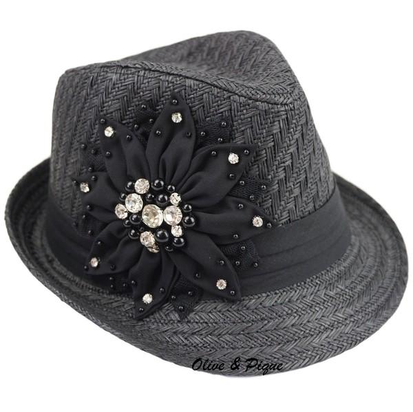 Large Bling Flower Deco Fedora - Black by Olive & Pique