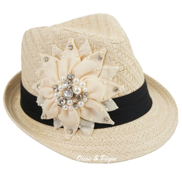 Large Bling Flower Deco Fedora - Straw by Olive & Pique
