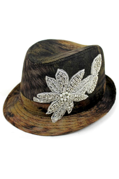 Crystal Stone Flower Fedora Hat