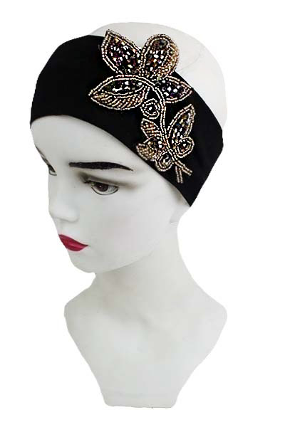Beaded Vine Leaf Accent Head Wrap