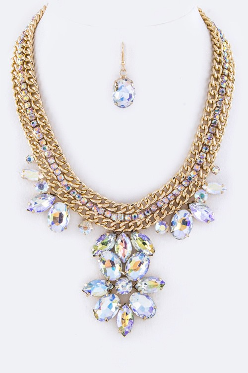 Ab/Gold Crystal Flower & Layer Chains Statement Necklace Set