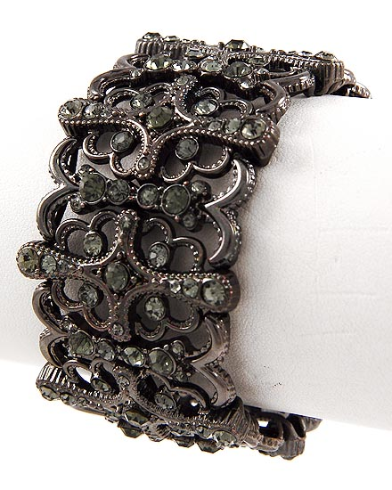 Black Diamond Rhinestones Stretch Bracelet