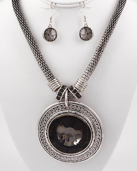 Black Center Stone Necklace & Earring Set