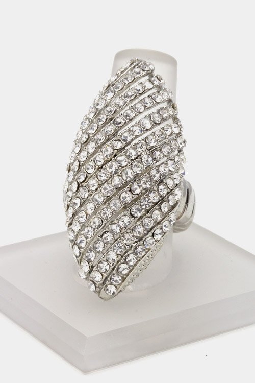 Diagonal Lined Crystal Stretch Ring