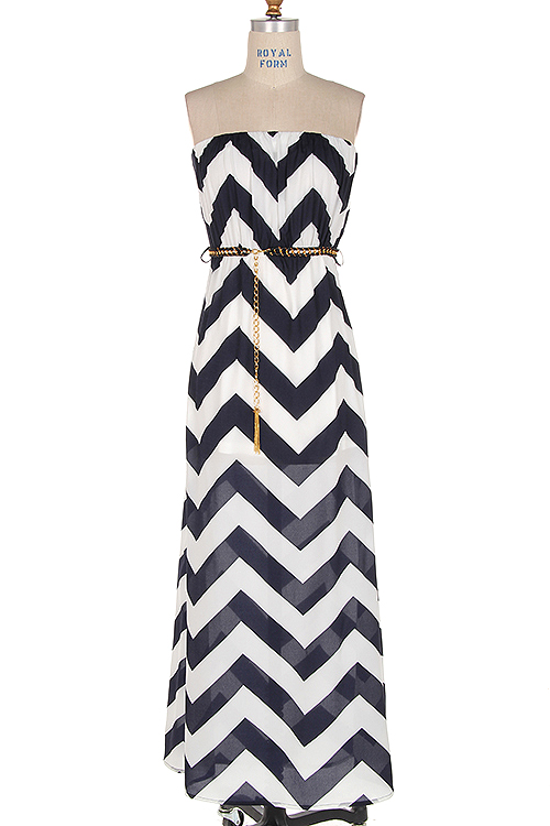 Navy Blue Chevron Maxi Dress