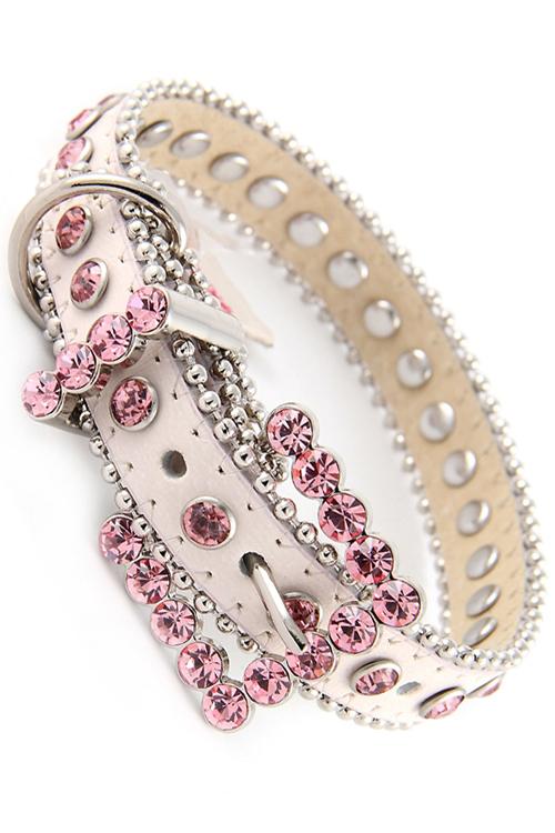 Light Pink Rhinestone Dog Collar