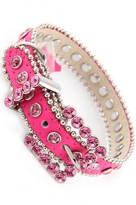 Hot Pink Rhinestone Dog Collar