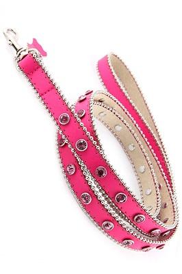 Hot Pink Rhinestone Dog Leash