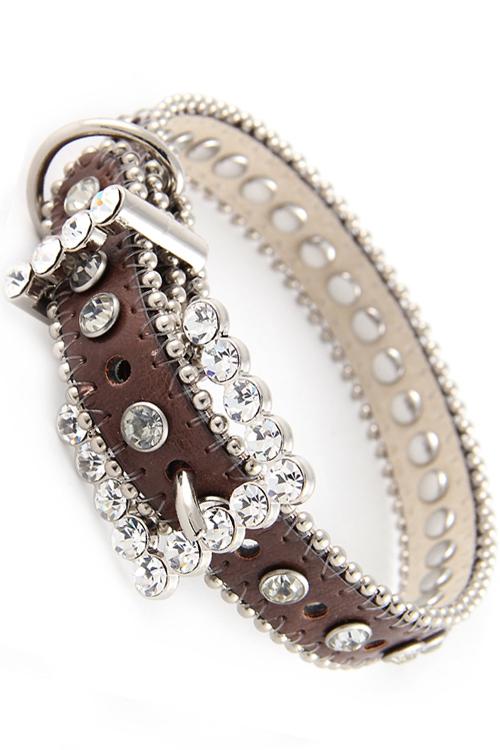 Brown/Clear Rhinestone Dog Collar