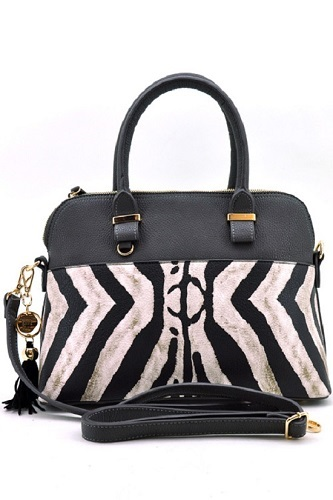 Zebra Print Fashion Handbag - Black/Gray