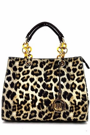 Faux Leather Leopard Print Handbag w/Gold Accents