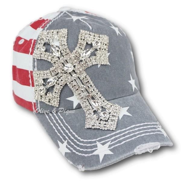 USA Stars & Stripes w/Rhinestone Cross Hat by Olive & Pique