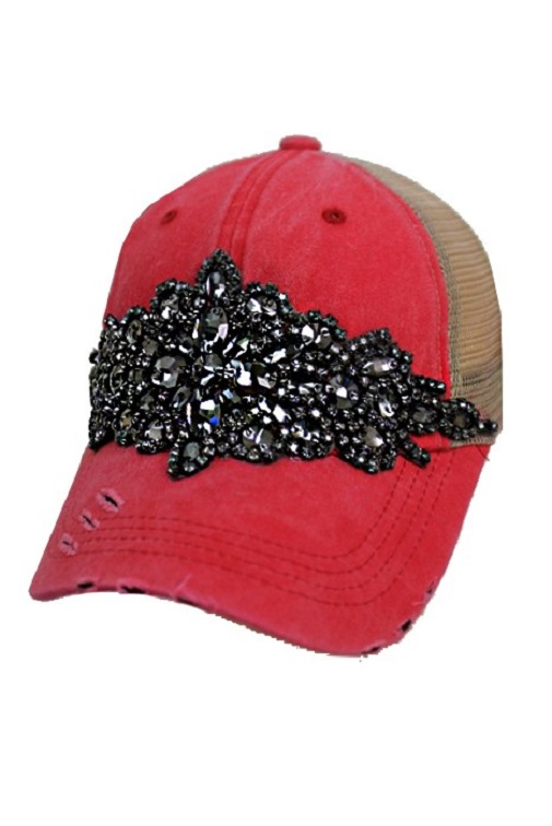 Floral Crystal Rhinestone Embellished Bling Trucker Style Hat - Coral