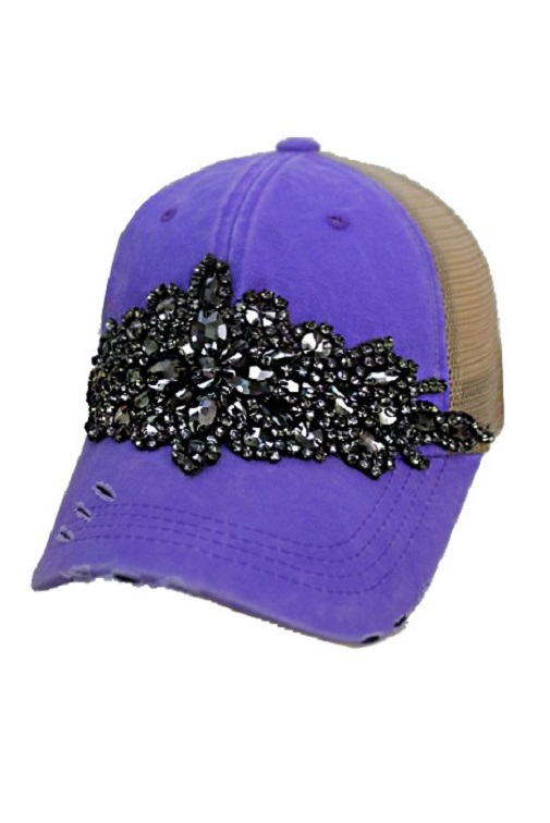 Floral Crystal Rhinestone Embellished Bling Trucker Style Hat - Purple