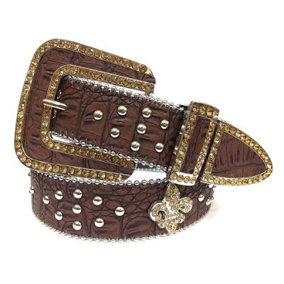 Studded Rhinestone Leather Fleur de Lis Belt