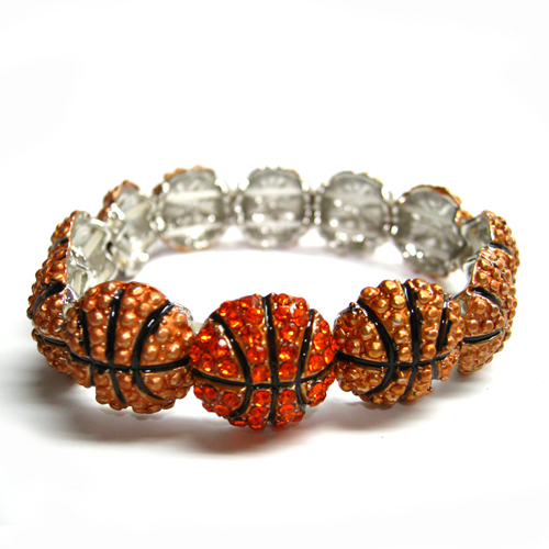 Basketball Charm Rhinestone Stretch Bracelet