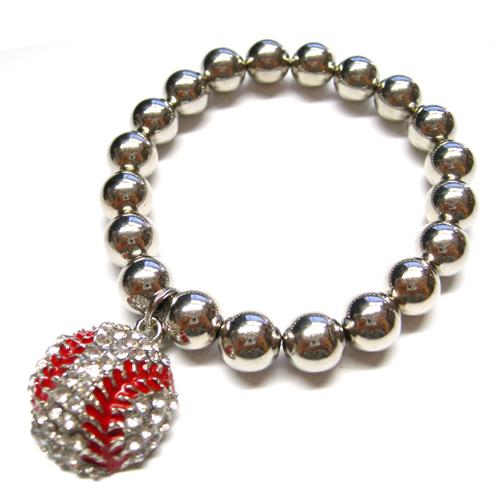 Baseball Rhinestone Charm Stretch Silver Ball Bracelet