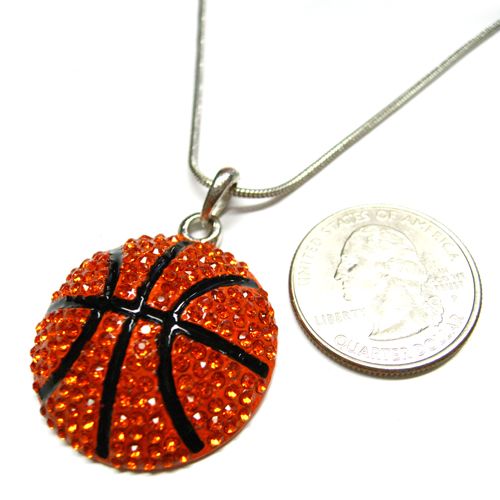 Basketball Large Charm Rhinestone Necklace