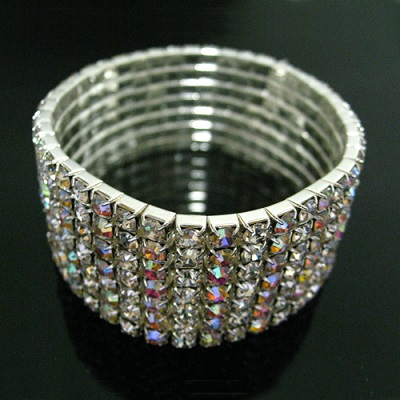 7 Lines of Clear / AB Mixed Rhinestone Stretch Bracelet
