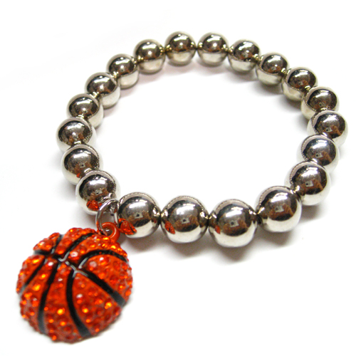 Basketball Dome Rhinestone Charm with Ball Stretch Bracelet