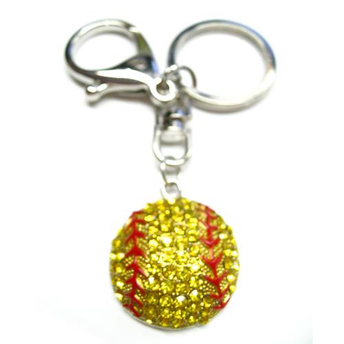 Softball Charm Rhinestone Keycahin
