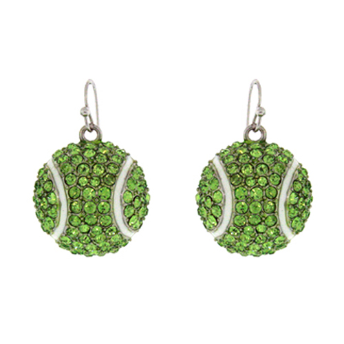 Tennis Ball Rinestone Charm Dangle Earring