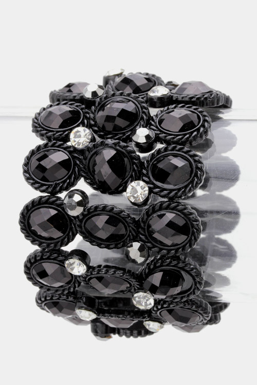 3 Rows Oval Crystal Stretch Bracelet
