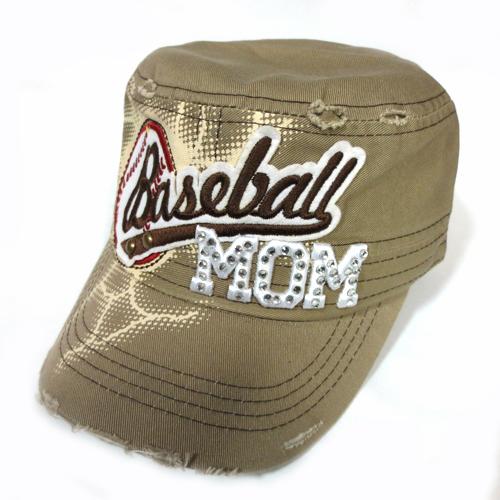 Baseball Mom Theme Khaki Distressed Hat