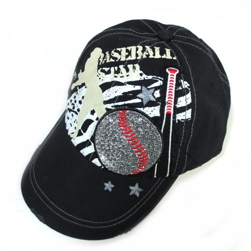 Baseball Star Black Baseball Distress Hat