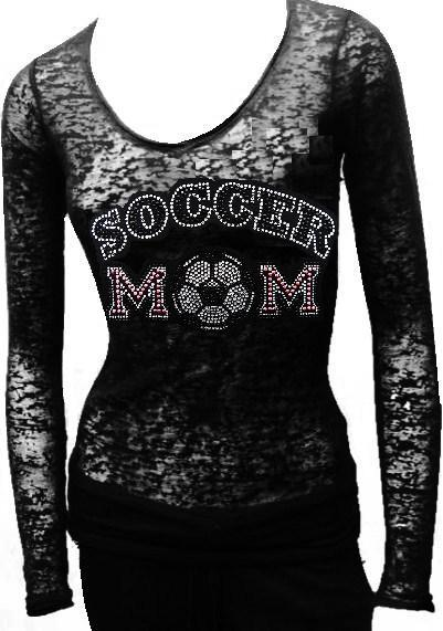 Burn Out Long Sleeve rhinestone - SOCCER MOM