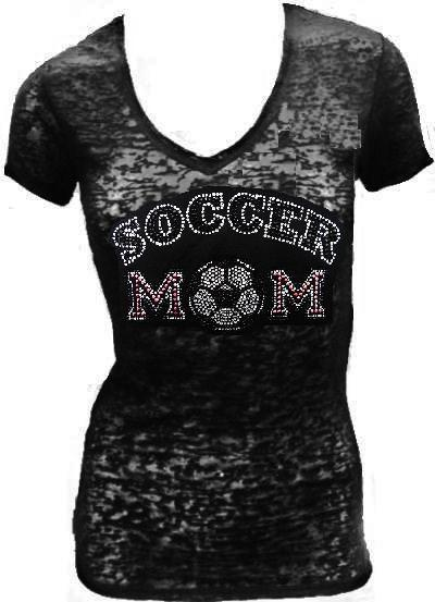 Burn Out Short Sleeve rhinestone - SOCCER MOM