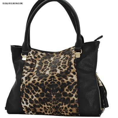 Black & Leopard Print Faux Handbag